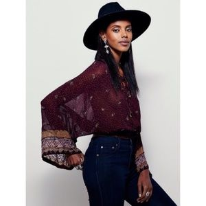 FREE PEOPLE Embellished Beaded Cross Front Blouse
